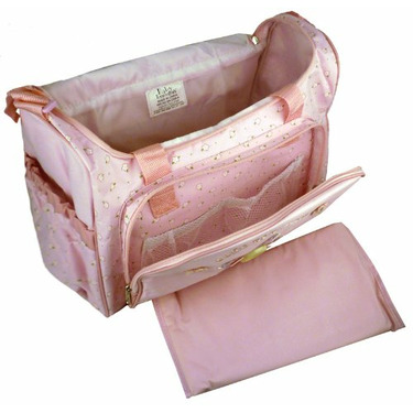 Baby Essentials Pink Flower Button Large Shoulder Baby Diaper Bag + Changing Pad