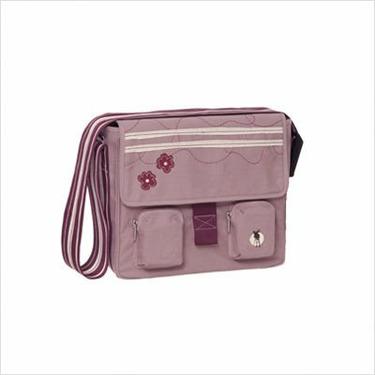 Lassig Fashion Messenger Eco-Friendly Diaper Bag, Flower Stripe Pink