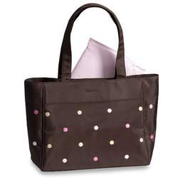Gerber Fashion Pink / Yellow Embroidered Dots Baby Diaper Tote Bag + Changing Pad
