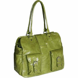 Gladiola Diaper Bag - Green Patent with Champagne Lining