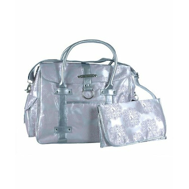 """Baby Phat """"Insignia"""" XL Diaper Tote Bag - white/pink/silver, one size"""