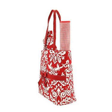 Large Red 3-Piece Quilted Damask Pattern Diaper Bag Tote Baby Shower Gift Set