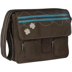 Lassig Fashion Messenger Eco-Friendly Diaper Bag, Flower Stripe Choco