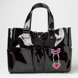 Rock N' Mom's Designer Black Patent Carry All Diaper Tote- Perfect Gift for the Chic Mom!