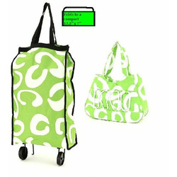 Lime Green and White Shopping Grocher Wheeled Cart Matching Tote Bag