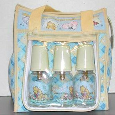 Deluxe Disney Classic Pooh Diaper Bag + 3 Bottles