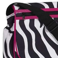 Hot Pink and Zebra Print Messenger Baby Diaper Bag