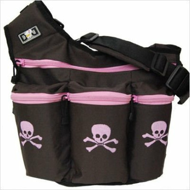 Diaper Dude Skull and Crossbones Diaper Bag - Brown/ Pink