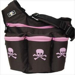 Diaper Dude Skull and Crossbones Diaper Bag - Brown/ Pink
