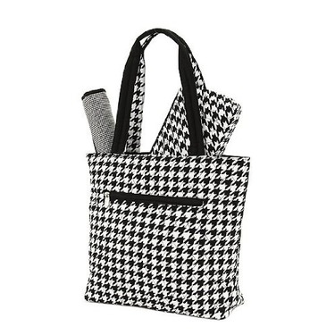 BELVAH - Quilted Monogrammable Houndstooth 3 Piece Diaper Bag - Bottom (Black and White Houndstooth) Top - Black