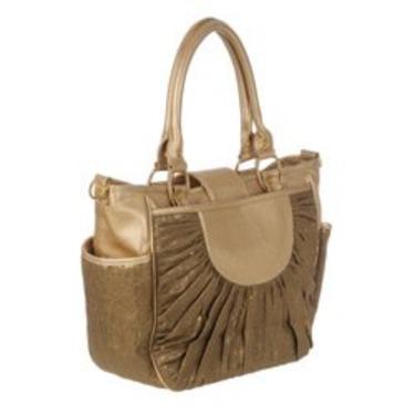 Gold & Beige Canvas Unisex Designer Baby Diaper Bag - Best Selling Gift for New Mom's