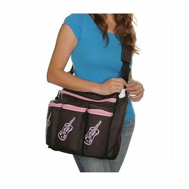 Diaper Diva Messenger Diaper Bag in Brown & Pink Guitar