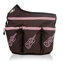 Diaper Diva Messenger Diaper Bag in Brown & Pink Guitar