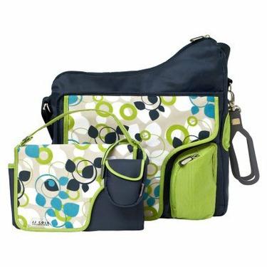 JJ Cole System Diaper Bag - Blue Vine - FLU113-1