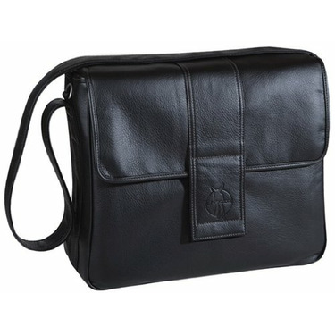 Lassig Fashion Messenger Eco-Friendly Diaper Bag, Faux Leather Black