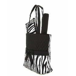 BELVAH - Quilted Monogrammable 3 Piece Diaper Bag - Zebra & Black