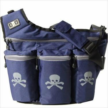Diaper Dude Diaper Bag, Navy Skull and Bones #500S