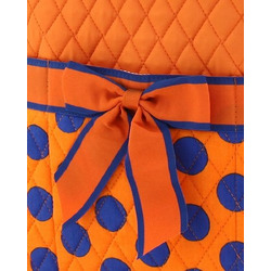BELVAH - Large Quilted Monogrammable 3 Piece Diaper Bag - Orange & Royal Blue