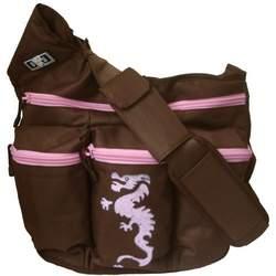 Diaper Dude Dragon Diaper Bag - Brown/ Pink