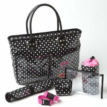 Trendy Black and White Polka Dot Tote with Pink Accents Baby Diaper Bag - Great Congratulations or Shower Gift Idea for New Moms