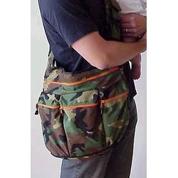Diaper Dude Diaper Bag, Gray with Orange Zippers