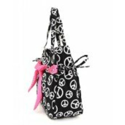 Peace Sign Diaper Bag W/O Changing Pad~Huge Oversized Black White Pink Backpack Bookbag Tote New
