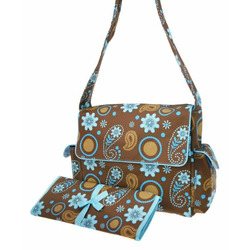 Blue and Brown Paisley Floral Diaper Bag