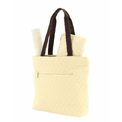 BELVAH - Quilted 3-Piece Monogrammable Diaper Bag with Saddle Stitched Ribbon Accents - Tan with Coffee (Brown) Ribbon and Bow