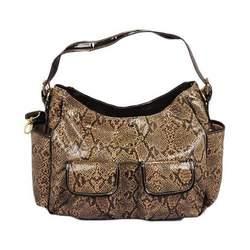 Baby Phat Faux Snakeskin Diaper Bag (Brown)