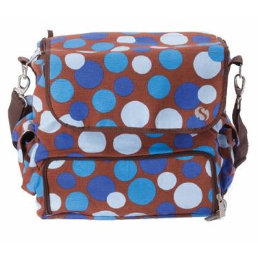 WhodaThought Mrs. Smith's Tempo Diaper Bag, Blue Polka Dot