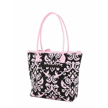 Belvah Black and Pink Quilted Damask Print Diaper Tote