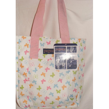 Jansport Classic Tote Bag White Multi Butterfly