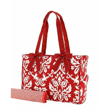 Belvah Quilted Damask Red Print Diaper Tote and Changing Pad