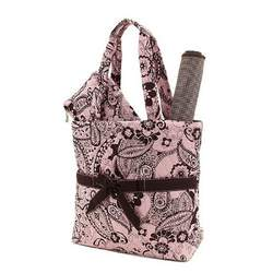 Belvah Quilted Paisley Rose and Brown Diaper Tote and Changing Mat