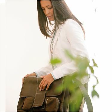 Lassig Fashion Messenger Eco-Friendly Diaper Bag, Faux Leather Brown