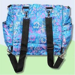 Blue Flowers Silk Boutique Diaper Bag