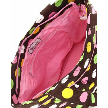 Belvah Quilted Brown and Multi Colored Dot Large End Pocket Diaper Tote