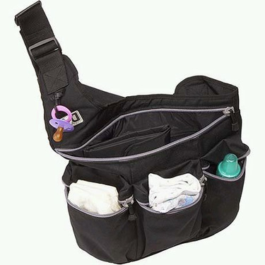 Diaper Dude Black Bag with Grey Zippers