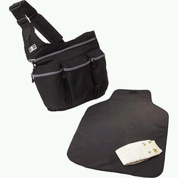 Diaper Dude Black Bag with Grey Zippers