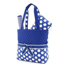 BELVAH - Large Quilted Monogrammable 3 Piece- Diaper Bag - Royal Blue & White