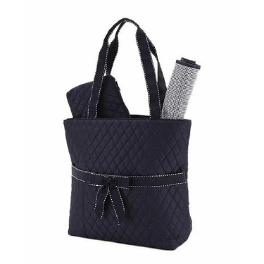 BELVAH - Quilted Monogrammable 3-Piece Diaper Bag with Saddle Stitched Ribbon Accents - Navy Blue