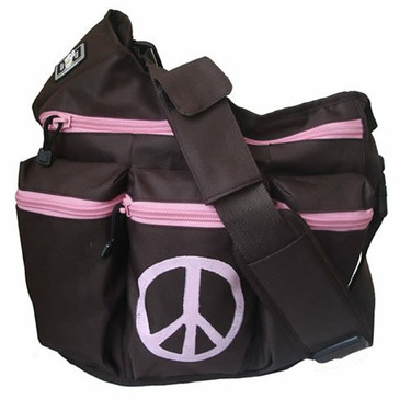 Diva Messenger Diaper Bag in Brown and Pink Peace Sign
