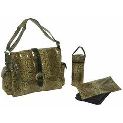 Kalencom 2960LMLPD-CHOC Chocolate Leopard Laminated Buckle Bag