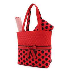 BELVAH - Large Quilted Monogrammable 3 Piece Diaper Bag - Red & Black Polka Dots and Bow