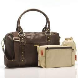Elizabeth Leather Diaper Bag Chocolate