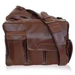 Brown Pleather Messenger Diaper Bag with Flap
