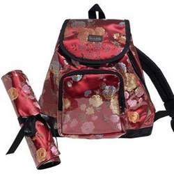 Garnet Brocade Backpack Diaper Bag