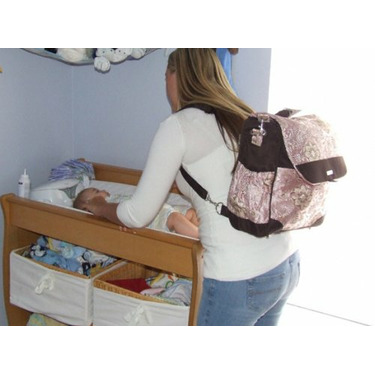 Bellagio Convertible Messenger and Backpack Diaper Bag in Pink
