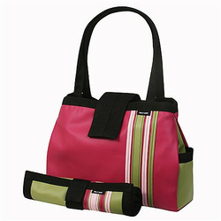 Raspberry Bomber Diaper Tote with Changing Pad