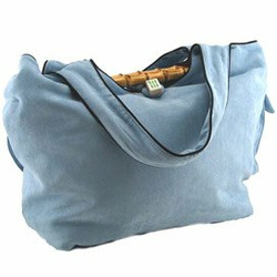 Faux Suede Diaper Bag in Blue